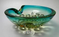 Vintage Italian Murano Green & Citrine Art Glass Geode Bowl MID Century