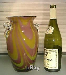 Vintage Italian Murano Lilac Swirl Cased Art Glass 10 VASE