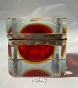 Vintage Italian Murano Sommerso Cranberry Art Glass Dresser Casket Jewelry Box