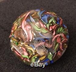 Vintage Italian Murano Venetian Art Glass Scrambled Millefiori Paperweight