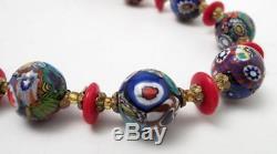 Vintage Italian Murano Venetian Millefiori Round Glass Bead Necklace