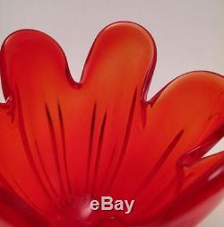 Vintage Italian Murano Vibrant Red Art Glass Vase MID Century Eames Era