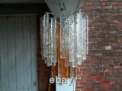 Vintage Italian Murano glass, Mazzega ice look chandelier, amber and clear