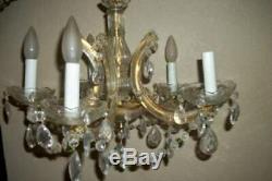 Vintage Italian Venetian Murano Glass Chandelier Prisms Ribbons MID Century