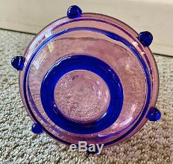 Vintage Italian Venini Murano Glass Decanter Ruby Cobalt Vittorio Zecchin