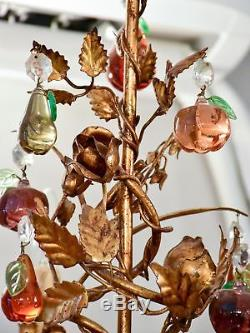 Vintage Italian chandelier with Murano glass fruits and a decorative gilded fram