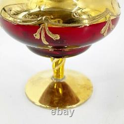 Vintage Italy Murano Venetian Ruby Glass Gold Gilt Overlay Enameled Compote Jar