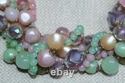 Vintage Italy Necklace Murano Glass & Crystal 5 Stands, Pink, Greens, Stunning