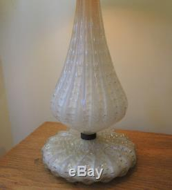 Vintage Lamp Murano Glass Bullicante with Gold Inclusions White Glass San Marco
