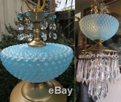 Vintage Lamp chandelier MURANO Venetian Blue Opaline Bubble Glass brass