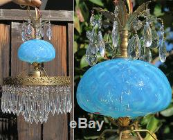 Vintage Lamp chandelier MURANO Venetian Turquoise Opaline Art Glass brass Tole