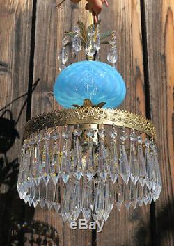 Vintage Lamp chandelier MURANO Venetian Turquoise Opaline Art Glass brass prisms