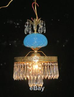 Vintage Lamp chandelier MURANO Venetian Turquoise Opaline Glass brass ceiling fx