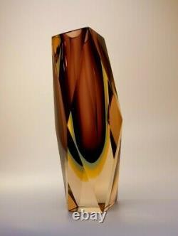 Vintage Large 1.5kg Alessandro Mandruzzato Sommerso Murano Faceted ArtGlass Vase