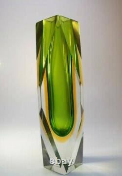 Vintage Large 1970s Alessandro Mandruzzato Sommerso Murano Faceted Glass Vase