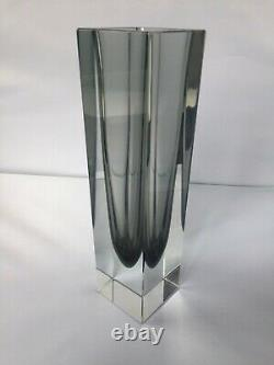 Vintage Large 26.5cm Murano Sommerso Block Vase in Clear and Graphite VGC