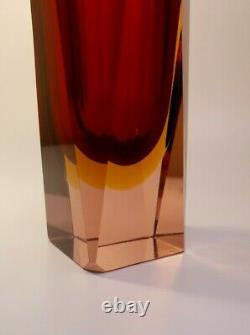 Vintage Large 2kg Alessandro Mandruzzato Sommerso Murano Faceted Art Glass Vase