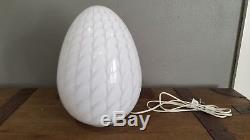 Vintage Large Egg Shaped Murano Lamp White