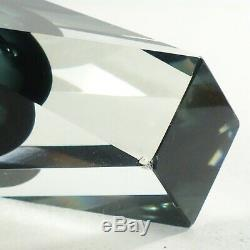 Vintage Large Murano Faceted Gray Sommerso Glass 12 Vase Mandruzzato Italy