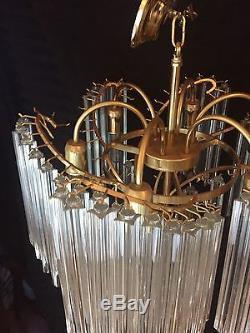 Vintage Large Venini Italian MURANO Glass Prism Grande Chandelier