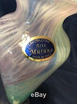 Vintage Lavorazione Murano Arte Glass Italy Vase Pink Green Blue speckled