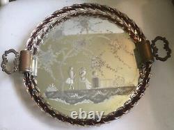 Vintage MCM 1950s Murano Venetian Etched Mirror Vanity Tray Glass Rope Rim