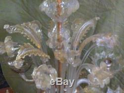 Vintage MCM Italian Venetian Murano Art Glass Chandelier Lamp Italy Light 6 Arms