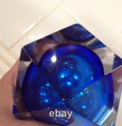 Vintage MCM Mandruzzato Murano Glass Ashtray and Lighter Cobalt Clear Excellent