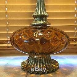 Vintage MCM Murano Amber Optic Glass Hollywood Regency Style Brass Table Lamp