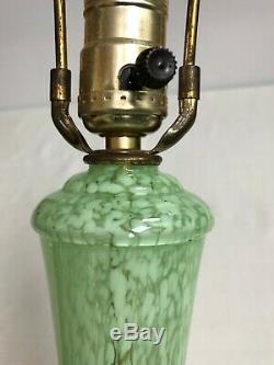 Vintage MCM Murano Green/White Glass Lamp Murano Swirl Lamp 1950-60's WithFinial