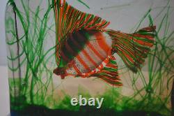 Vintage MID Century Cenedese Barbini Murano Italian Art Glass Fish Block