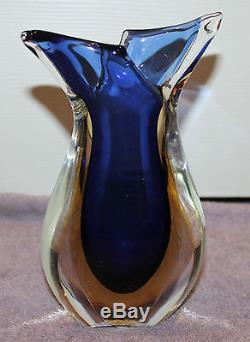 Vintage MID Century Murano Sommerso Vase Fishtail Top Blue & Amber