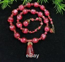 Vintage MIRIAM HASKELL signed Cranberry Art Murano Glass Necklace & Earrings Set