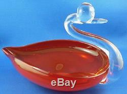 Vintage MURANO ART GLASS 19cm Handcrafted SWAN Dish VG Collectable Australia