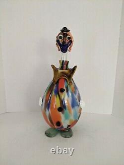 Vintage MURANO ART GLASS CLOWN decanter multicolor CLEAN