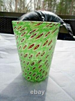 Vintage MURANO Art Glass Green Millefiori & Aventurine TUMBLER Italy