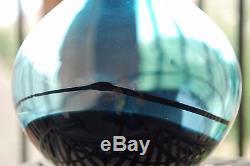 Vintage MURANO Art Glass OGGETTI Italy SEGUSO A. V. Livio Signed Blue Vase 10