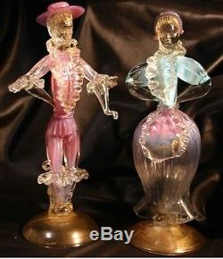 Vintage MURANO Art Glass couple Blue Pink Gold 50s