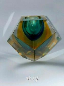 Vintage MURANO SOMMERSO Glass Faceted Ashtray