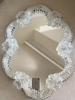 Vintage MURANO VENETIAN Mirror White FLOWERS Use for wall table or DISPLAY TRAY