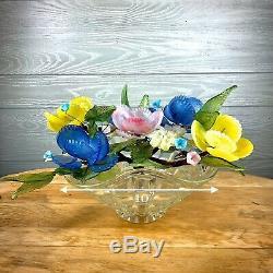 Vintage MURANO Venetian Czech Slag Glass Flower Bouquet CENTERPIECE, Italy
