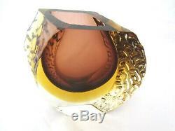 Vintage Mandruzzato Murano sommerso textured block glass vase chocolate, amber
