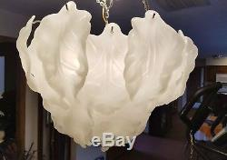 Vintage Mazzega Italian Murano Opaline White Glass Leaf Chandelier 4 Tiers