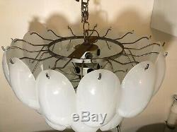 Vintage Mazzega Italian Murano Opaline White Glass Oval Leaf Chandelier Mcm 1959