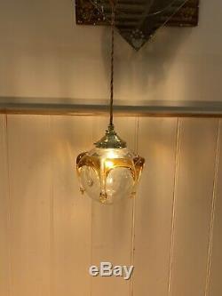 Vintage Mazzega Murano Globe Pendant, Amber Drips, Retro Handmade Glass