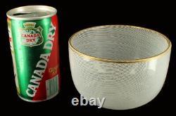 Vintage Mid Century Italian Art Glass Murano Mezza Filigrana Bowl Gold Rim