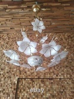 Vintage Mid-Century Italian Murano Flower Venini Art-Glass Chandelier