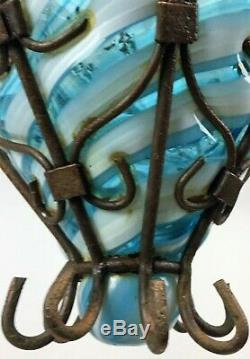 Vintage Mid-Century Italian Seguso Murano Caged Bubble Glass Pendant Light c1950