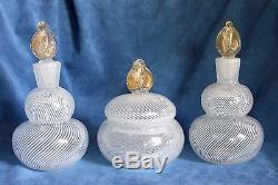 Vintage Mid Century MURANO Glass 2 Perfume Bottle Powder Jar Vanity Italy Label