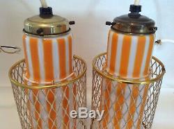 Vintage Mid-Century Modern Murano Glass Hanging Pendant Lights Lamps Orange 12T